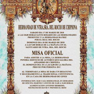 La Hermandad del Rocío de Chipiona hace coincidir este año la peregrinación de San Jose y la Misa Oficial en la aldea