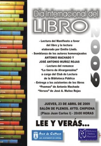 Chipiona festeja este jueves el Día Internacional del Libro
