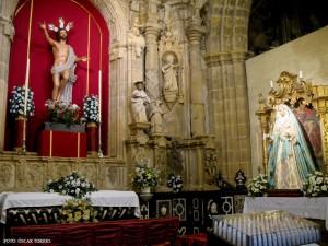 LA VIRGEN DE LA LUZ EXPUESTA AL CULTO (HERMANDAD DEL RESUCITADO DE JEREZ)