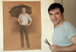 Antonio Montiel pinta el cartel para una subasta  a beneficio de la Fundación Vicente Ferrer