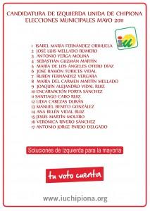 Izquierda Unida de Chipiona presenta una  lista joven, preparada y renovada.