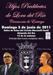 La ceremonia de entrega de los Títulos de Hijos Predilectos de Lora del Río a Gracia Montes y Rogelio Reyes tendrá lugar el  domingo 5 de junio