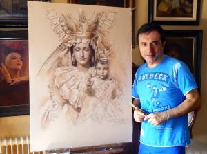 El pintor Antonio Montiel pinta el cartel del 25 aniversario de la Romería de la Virgen de la Alegría de Málaga