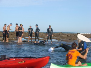 Los quince nadadores participantes completan la travesía a Salmedina