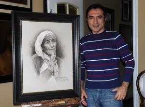 """Un retrato de la madre Teresa de Calcuta ha sido donado por el pintor Antonio Montiel para la """"Subasta por la vida»"""