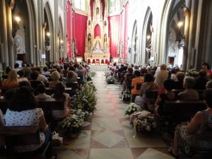 El Santuario acoge la tradicional ofrenda floral a la Virgen de Regla