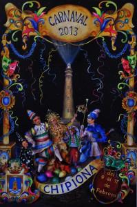 """El cartel """"Noche de Serpentina"""" del autor Manuel Gómez anunciará el Carnaval de Chipiona de 2013"""