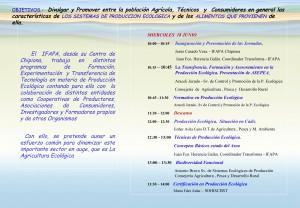 El IFAPA de Chipiona acoge mañana una Jornada Técnica de Producción Ecológica