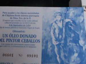 Julio Ceballos continúa con la venta de boletos para el sorteo de uno de sus óleos más conocidos para recaudar fondos para Cáritas de Chipiona.