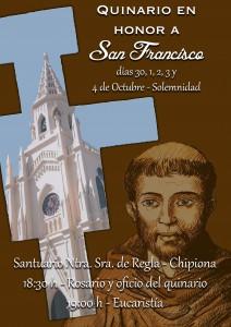 Un quinario celebrará la festividad de San Francisco de Asís
