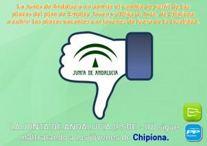 Nuevas Generaciones de Chipiona acusa a la Junta de Andalucía de perjudicar a los jóvenes chipioneros al no admitir  la reformulación de las plazas vacantes del plan Emple@joven.