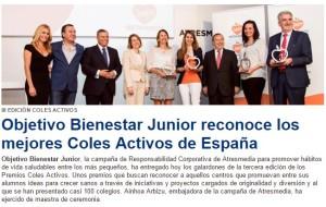 El colegio Maestro Manuel Aparcero de Chipiona recoge su premio OBJETIVO BIENESTAR JUNIOR , otorgado por el Grupo Atresmedia de Antena 3 televisión por las actividades realizadas dentro de los proyectos de hábitos saludables