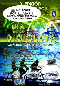 Aplazado el Día de la Bicicleta debido a la previsión de lluvias para el próximo domingo.