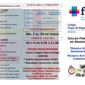El colegio Virgen de Regla abre periodo de información para las preinscripciones de ciclos formativos del próximo curso