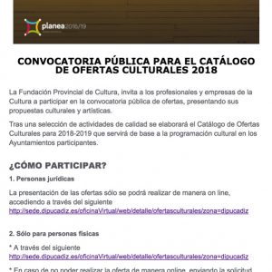 La Delegación de Cultura asesora a los artistas locales interesados en presentarse al catálogo 2018 de Diputación