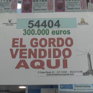 El 54.404 de la Lotería Nacional de ayer jueves deja en Chipiona 300.000 euros