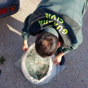 La Guardia Civil de Chipiona desmonta un trasmallo de cincuenta metros frente a Costa Ballena