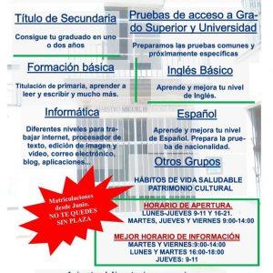 El Centro de educación de adultos de Chipiona abre el plazo de información sobre el próximo curso
