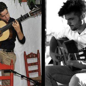 Los chipioneros Antonio González y Manuel Cerpa en la final del Festival Internacional de la Guitarra de Jerez