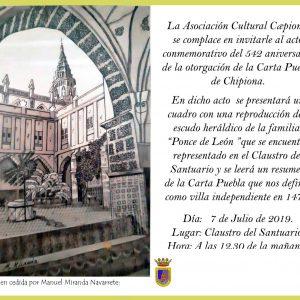 Caepionis celebrará el 7 de julio el acto conmemorativo del nacimiento de Chipiona para reclamar que se convierta en fiesta local