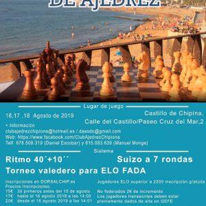 Abierto el plazo de inscripciones para el Open Chipiona de Ajedrez que se celebrará en el Castillo de Chipiona del 10 al 12 de agosto