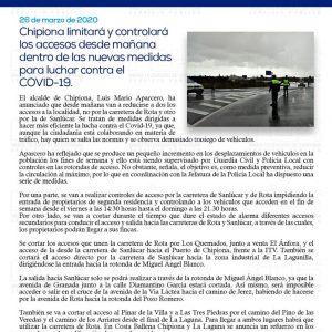Chipiona limitará y controlará los accesos desde mañana dentro de las nuevas medidas para luchar contra el COVID-19