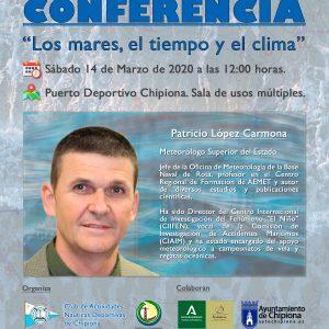 «Los mares, el tiempo y el clima», conferencia del meteorólogo Patricio López en  CAND Chipiona el próximo sábado, 14 de marzo