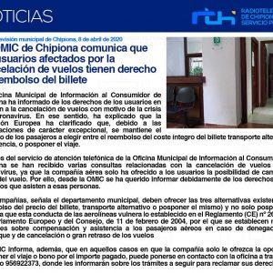 La OMIC de Chipiona comunica que los usuarios afectados por la cancelación de vuelos tienen derecho al reembolso del billete