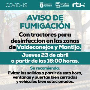 Agricultura realiza hoy y el sábado dos nuevas fumigaciones con tractores en la localidad