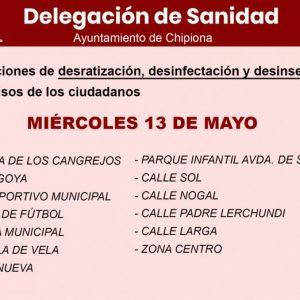 Sanidad municipal informa sobre la actuación de desratización, desinfección y desinsectación de esta semana en Chipiona