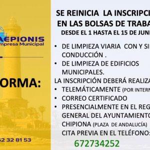 La Empresa Municipal Caepionis reanuda  las inscripciones en sus bolsas de trabajo hasta el 15 de junio