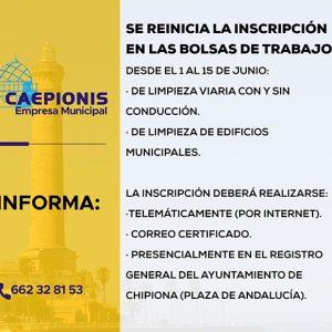 El lunes 15 acaba el plazo para la inscripción en la bolsa de trabajo de la Empresa Municipal Caepionis