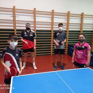 Alba Sánchez, Pablo Castillo, Juan Merello y Fran Castillo competirán este sábado en  Bormujos en el Torneo Pre-estatal de tenis de mesa