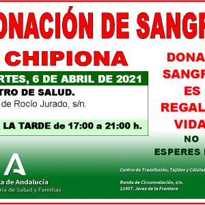 Llamamiento a dar vida donando sangre este martes 6 de abril en Chipiona