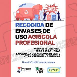 Laura Román informa que el viernes habrá una recogida de envases de uso profesional para los agricultores de Chipiona