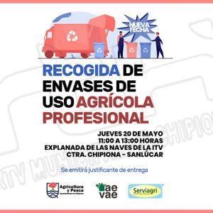 El 20 de mayo tendrá lugar una nueva recogida de envases de uso profesional para los agricultores de Chipiona