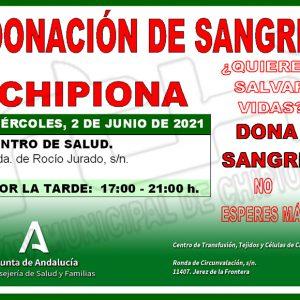 Llamamiento para un nueva donación colectiva de sangre mañana  miércoles 2 de junio en Chipiona
