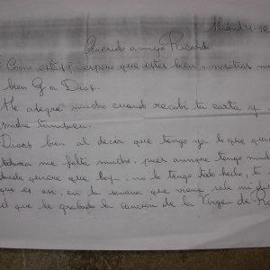 La verdadera letra de Rocío Jurado en una carta enviada a su amigo personal Ricardo Naval publicada en exclusiva por Diario de Cádiz el 19 de febrero de 2008